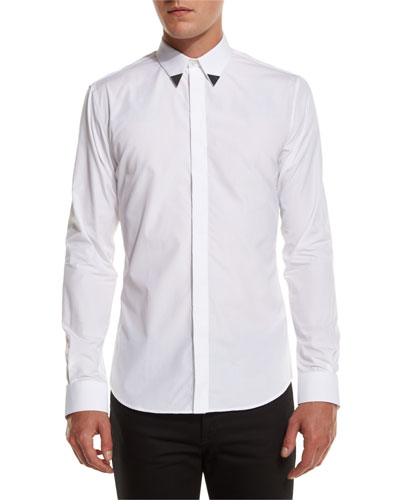 Metal-Tip Point-Collar Shirt, White