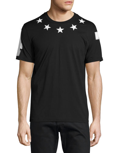Cuban-Fit Star-Applique T-Shirt, Black