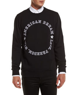 American Dream Varsity Text Sweatshirt, Black