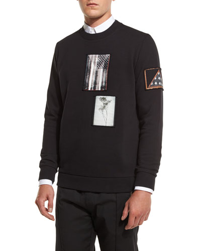 Cuban-Fit Photograph Patch Sweatshirt, Black