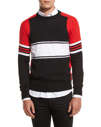 Colorblock Lightweight Sweater, Black Multi