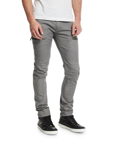 Acrux Skinny-Fit Moto Jeans, Rinse Coxa