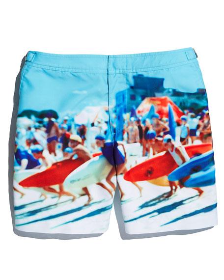 Bulldog Happy Sandboys Print Swim Trunks