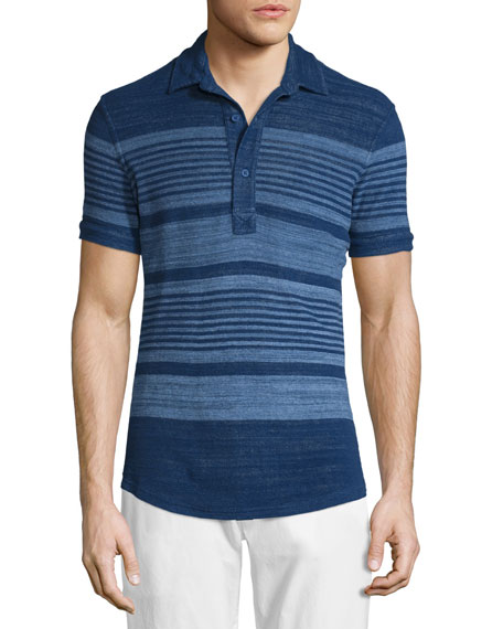 Sebastian Multi-Stripe Short-Sleeve Polo Shirt, Mazanine