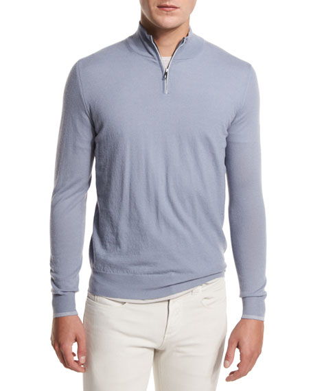 Loro Piana Super Light Cashmere Half-Zip Sweater, Stone