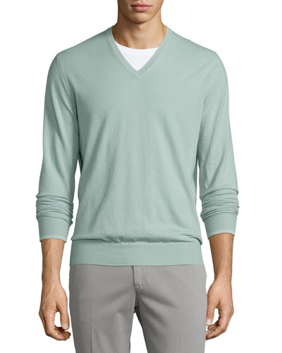 Cashmere V-Neck Sweater, Granite Green