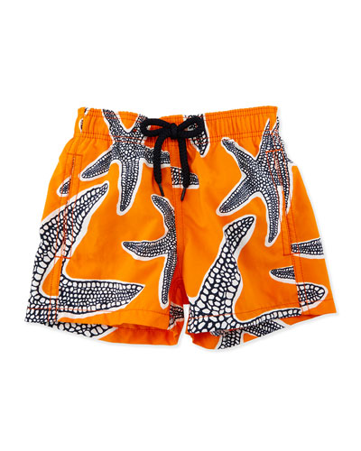 Jim Starlets Printed Swim Trunks, Orange, Boys' 2-8