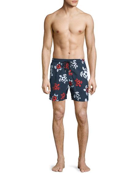 Moorea Soccer-Turtle Printed Swim Trunks, Navy