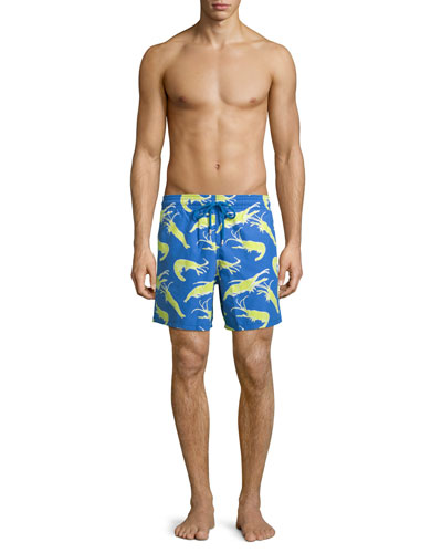 Moorea Shrimp-Print Swim Trunks