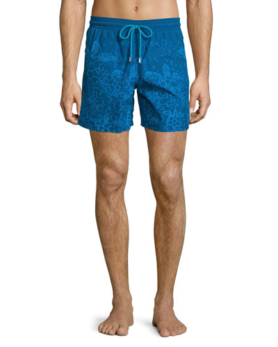 Moorea Bubbles Turtles Printed Swim Trunks, Navy