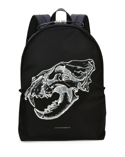 Lion Skull Leather-Trim Backpack, Black