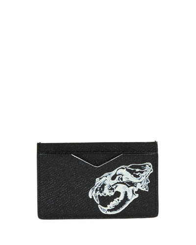 Lion Skull Leather Card Case, Black/Off White