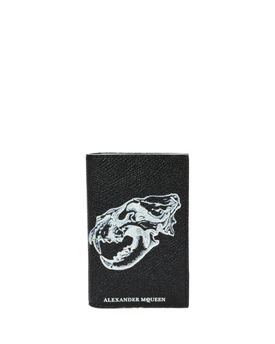 Lion Skull Graphic Pocket Organizer, Black/Off White