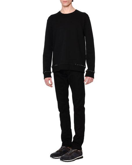 Studded-Pocket Slim-Fit Denim Jeans, Black