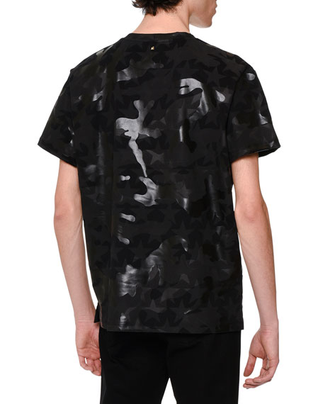 Camo & Star-Print T-Shirt, Black