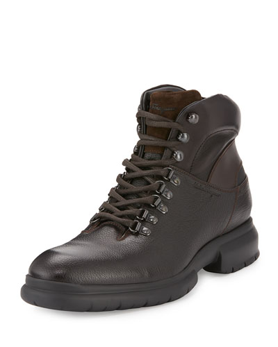 Textured Calfskin Hiker Boot, Brown