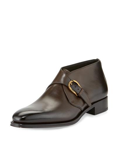 Gervasio Tramezza Limited Edition Single-Monk Burnished Calfskin Boot, Brown