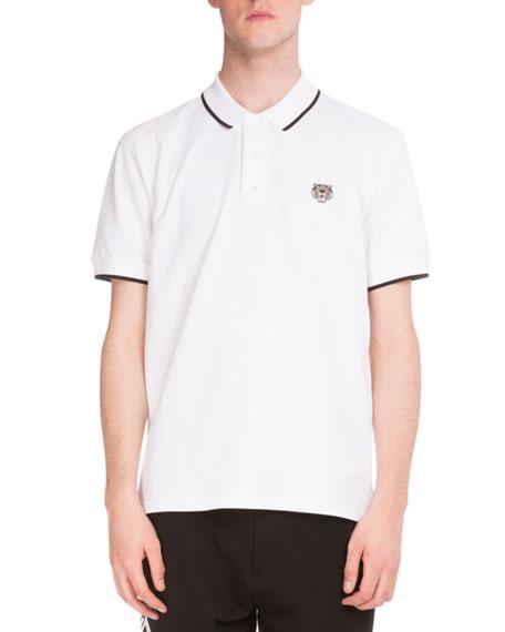 99cc0fe05b Kenzo Iconic Tiger Contrast-Tip Polo Shirt, White