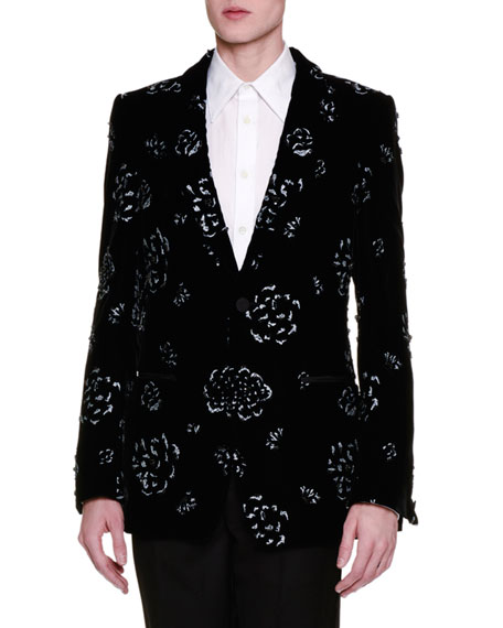 Floral-Embellished Velvet Evening Jacket, Black