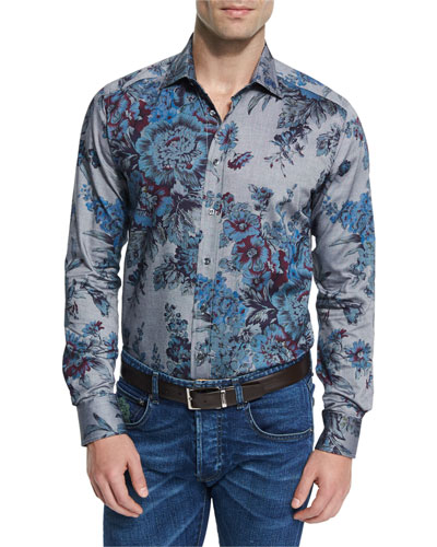 Floral-Print Long-Sleeve Sport Shirt