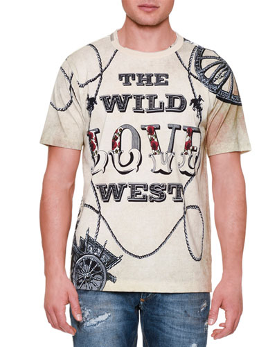 Love Western-Print T-Shirt, Tan Multi