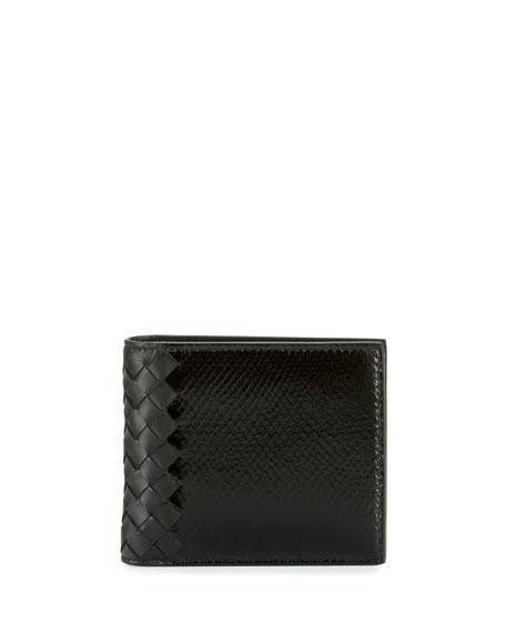 Bottega Veneta Intrecciato Leather & Snakeskin Wallet, Black