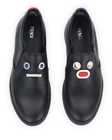 Metal-Face Leather Slip-On Sneaker, Black