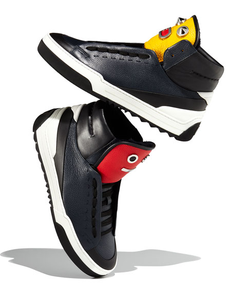 d47ea0c1cc Men's Metal Face Leather High-Top Sneaker Navy
