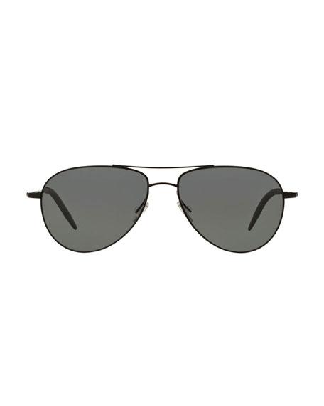 Benedict 59 Metal Aviator Sunglasses, Black