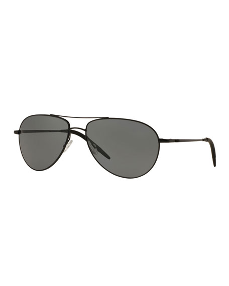 Oliver Peoples Benedict 59 Metal Aviator Sunglasses, Black
