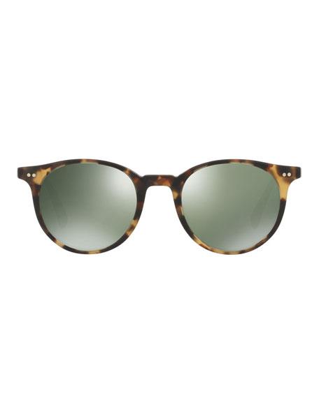 Delray Sun 48 Round Sunglasses, Light Brown