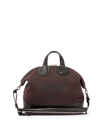 Nightingale Men's Neoprene Logo Satchel Bag, Dark Brown