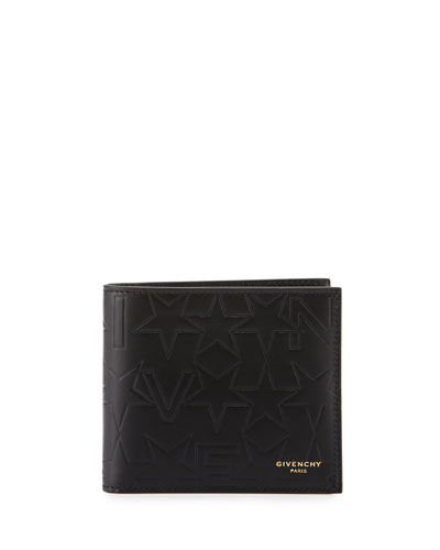 Logo & Star Embossed Leather Wallet, Black