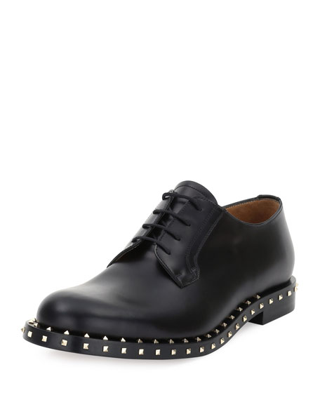 Valentino Rockstud Studded Lace-Up Derby Shoe, Black