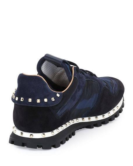 Rockstud Camo-Print Suede & Nylon Sneaker