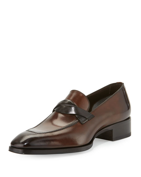Gianni Twist-Front Leather Loafer, Brown