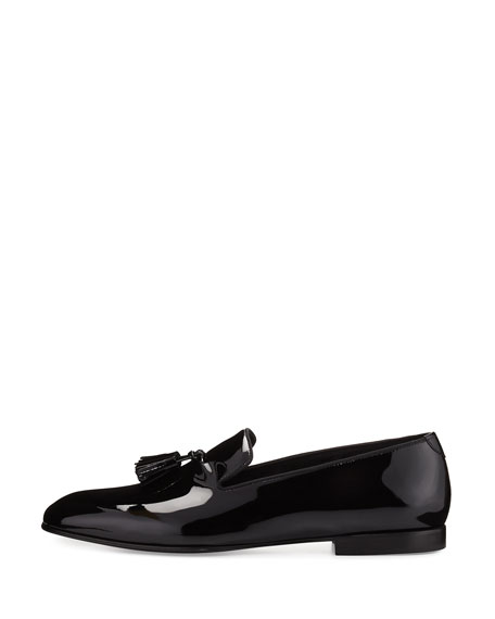 Chesterfield Patent Leather Tassel-Front Loafer, Black