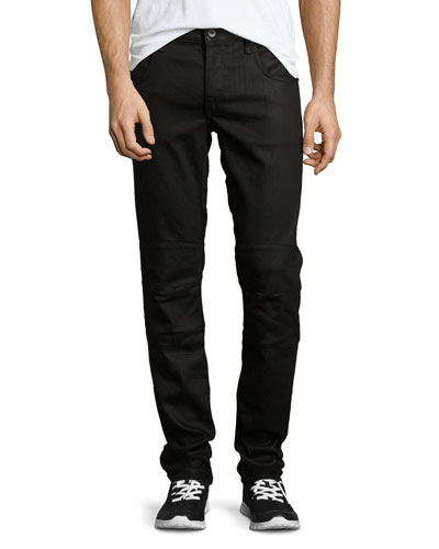 Coated Five-Pocket Moto Jeans, Black