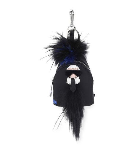 Fendi Karlito Fur-Trim Backpack Charm for Bag/Briefcase, Black