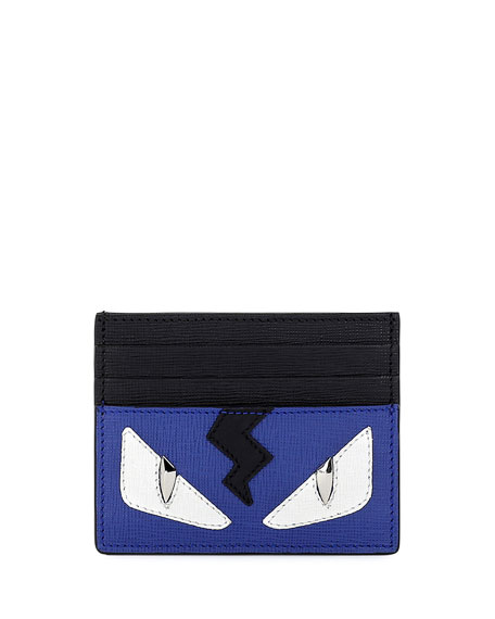 Monster Eyes Leather Card Case, Blue/Black