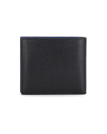 Karlito Bi-Fold Leather Wallet w/Mink Fur Details, Black