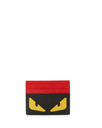 Monster Eyes Leather Card Case, Black/Yellow