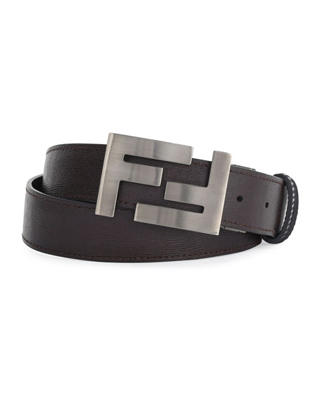 Fendi Double-F Buckle Textured Leather Belt, Brown/Black