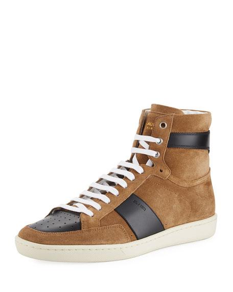 Saint Laurent Colorblock Suede High-Top Sneaker, Gray/White