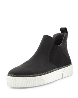 Leather High-Top Slip-On Sneaker, Black