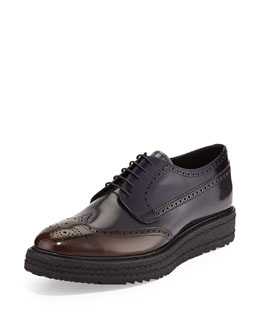 Rubber-Sole Leather Wing-Tip Derby Shoe, Blue/Brown