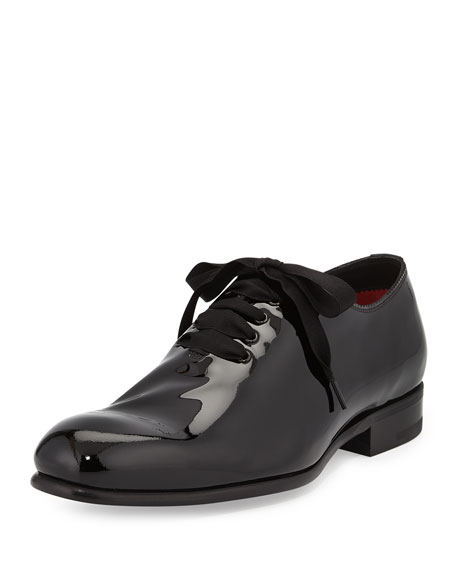 Charles Patent Lace-Bow Shoes, Black