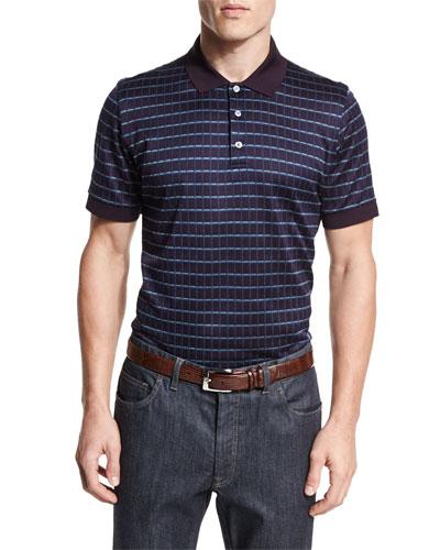 Check Short-Sleeve Polo Shirt, Burgundy