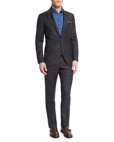 Windowpane Two-Piece Wool Suit, Charcoal