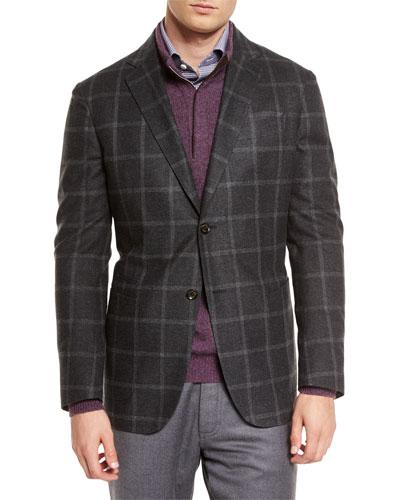 Windowpane Two-Button Silk Blazer, Dark Gray